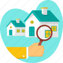 find, home, house, property, real estate, search icon
