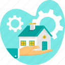 grea, hand, home, house, property, real estate, settings icon