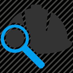 audit, find, hard hat, helmet, protection, safety, test icon