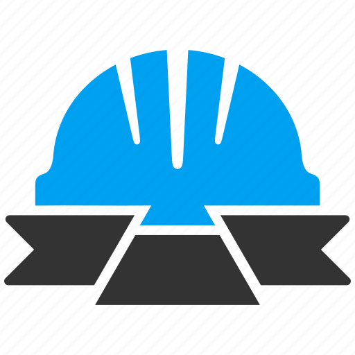 banner, helmet, industry, protection, protective, ribbon, safety icon