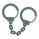 chain, concept, handcuff, justice, legal, lock, police icon