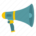 bullhorn, megaphone, message, protest, sound, speaker, voice icon