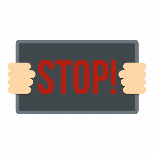 board, hand, holding, message, signboard, stop, white icon