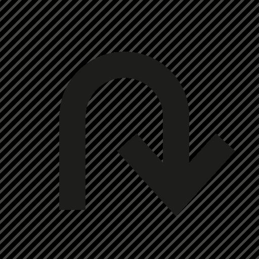 arrow, change, curve, round, turing, u-turn icon