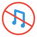 forbidden, music, no, noise, not allowed, prohibited, warning icon