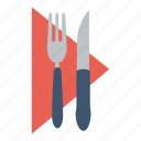 cutlery, dining, dinner, eat, food, napkin, restaurant icon