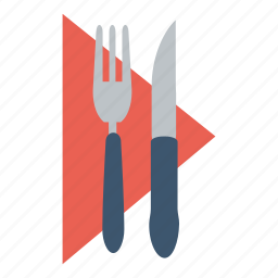 cutlery, dining, dinner, eat, food, napkin, restaurant icon
