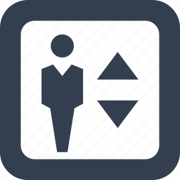down, elevator, lift, man, person, public, signs, up icon