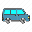 automobile, bus, minibus, minivan, transport, van, vehicle icon