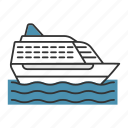cruise, liner, marine, ship, transport, travel, vessel icon