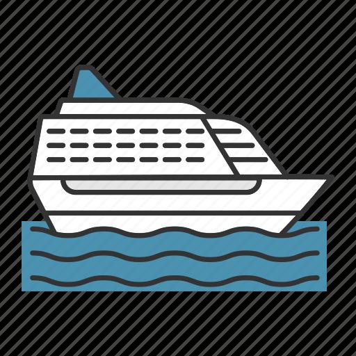 cruise, liner, marine, ship, transport, travel, vessel icon