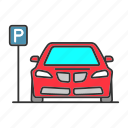 automobile, car, p sign, parking, place, vehicle, zone icon