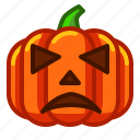 emoji, emoticon, halloween, lantern, pumpkin, sad, spooky icon