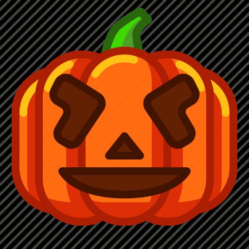 Emoji Emoticon Funny Halloween Lantern Pumpkin Spooky Icon