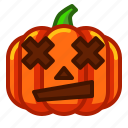 confuse, emoji, emoticon, halloween, lantern, pumpkin, spooky icon
