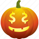 cash, dollar, halloween, money, pumpkin, smile icon