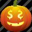 cash, dollar, halloween, money, pumpkin, smile icon