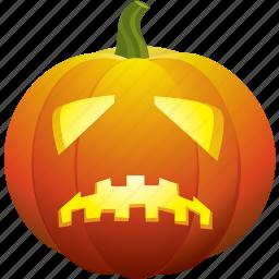 bad, halloween, pumpkin, sad, scary, ugly icon