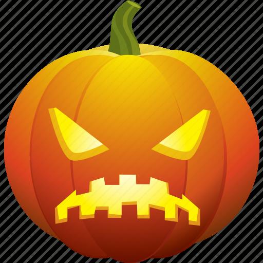 angry, bad, halloween, pumpkin, sad, ugly icon