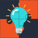 bulb, creative, idea, puzzle, solution icon