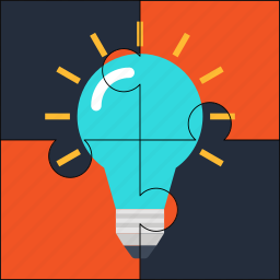 bulb, creative, idea, puzzle, solution icon