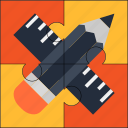 creative, design, pencil, puzzle, ruler, solution icon