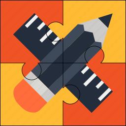 creative, design, pencil, puzzle, ruler, solution icon