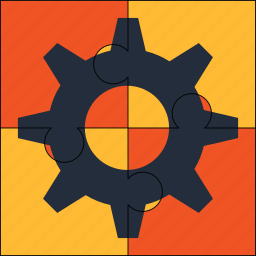 automated, cogwheel, engine, industrial, puzzle, solution icon