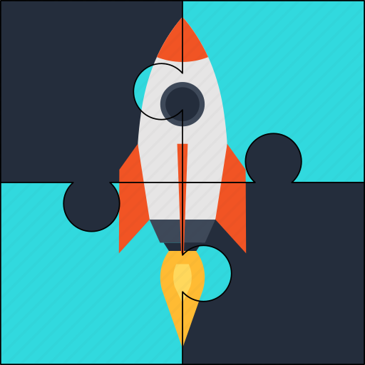 launch, puzzle, rocket, solution, startup icon
