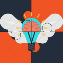brain, bulb, creativity, idea, puzzle, solution, wings icon