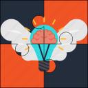 brain, bulb, creativity, idea, puzzle, solution, wings