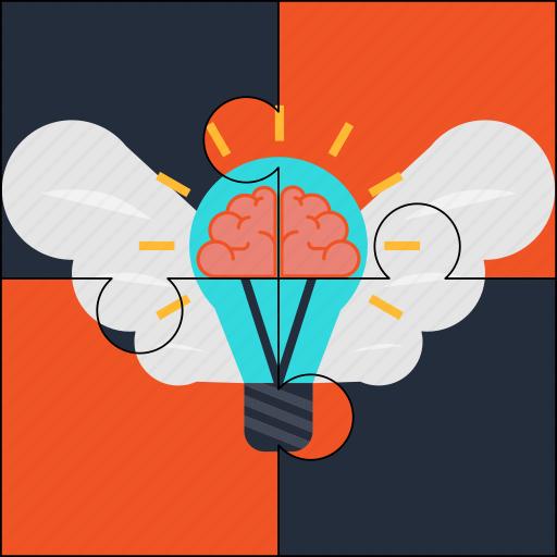 brain, bulb, creativity, idea, puzzle, solution, wings icon
