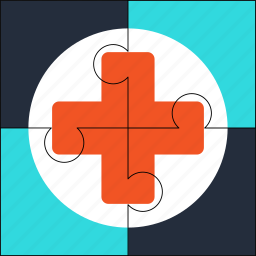 ambulance, health, healthcare, medical, puzzle, solution icon