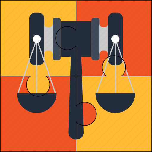 balance, juridical, legal, mallet, puzzle, solution icon