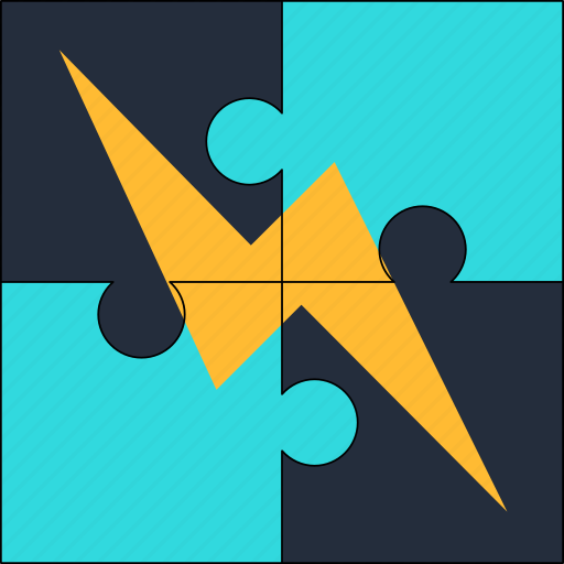 energy, lightening, power, puzzle, resource, solution icon