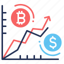 bitcoin, chart, curves, money icon