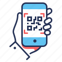 hand, mobile, qr code, scanner icon
