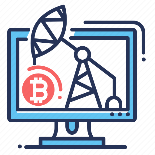 bitcoin mining, cryptocurrency, display, mining rig icon