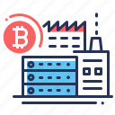 bitcoin, building, mining factory, mining hardware icon