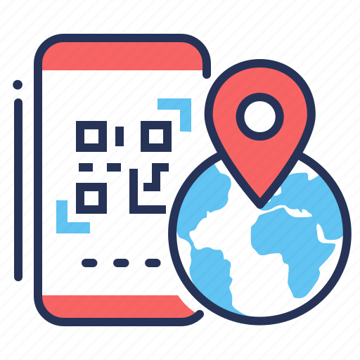 earth, location, mobile, qr code icon