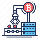 bitcoin, blockchain, machine, mining rig icon