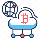 bitcoin, cloud, internet, sitemap icon