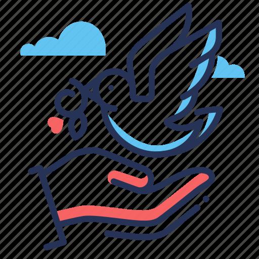 bird, dove, peace, twig icon