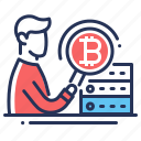 bitcoin, magnifier, male, programmer icon