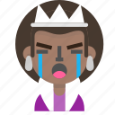 costume, crying, emoji, female, halloween, queen icon