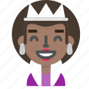costume, emoji, female, glad, halloween, queen icon