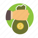 bag, bank, cash, finance, gold, lend, money icon