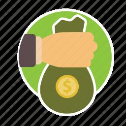 bag, bank, cash, finance, gold, lend, money icon