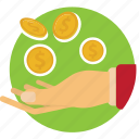 bank, coins, hand, lend, money, receive