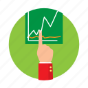 business, finances, hand, money, rates, reports, stocks icon